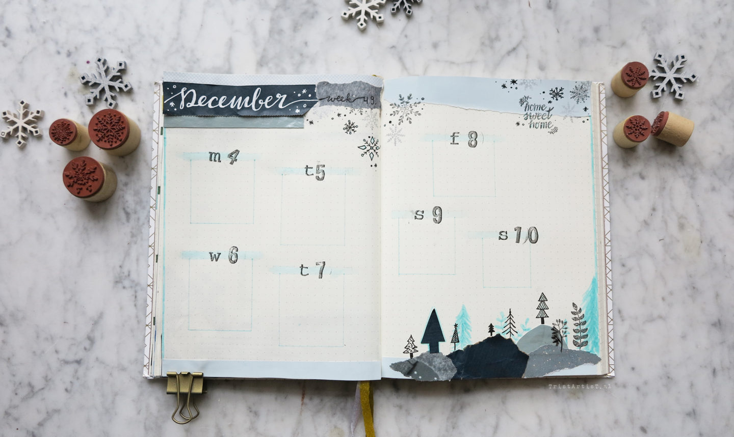 winter bullet journal december weekly