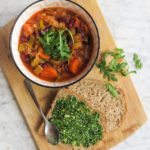 vegan vegetable arugula pesto soup